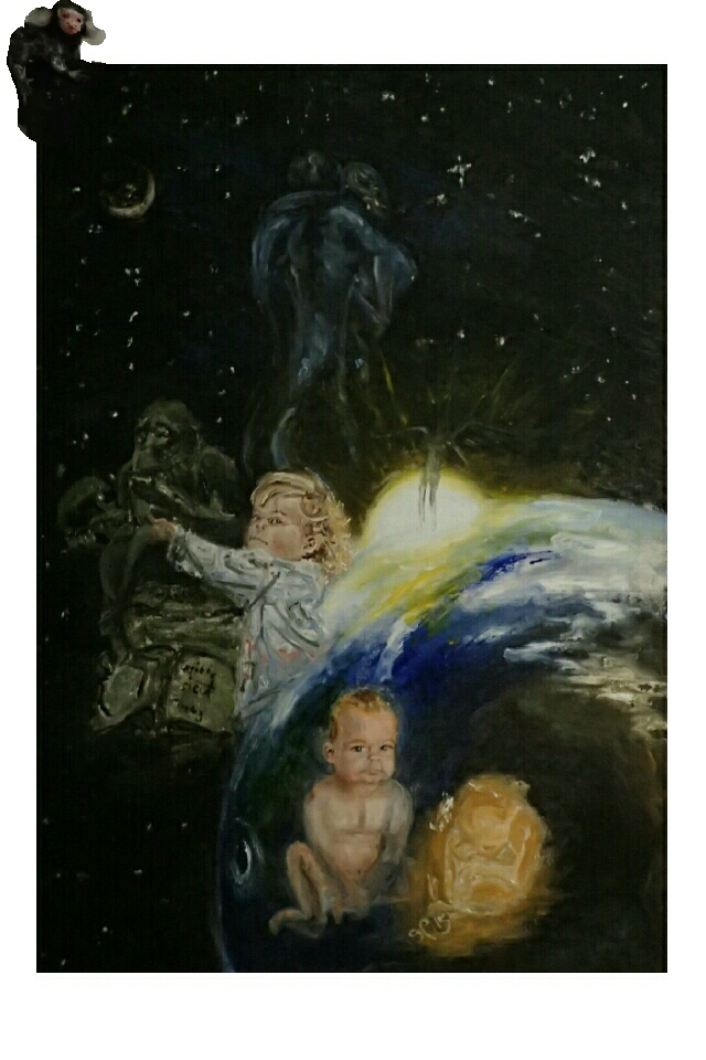 Evolution, Mankind, Fetus, baby, hild, The Lovers, Parents, Angel, Sun, Earth, Ape, Books of Darwin, God, Religion, Moon