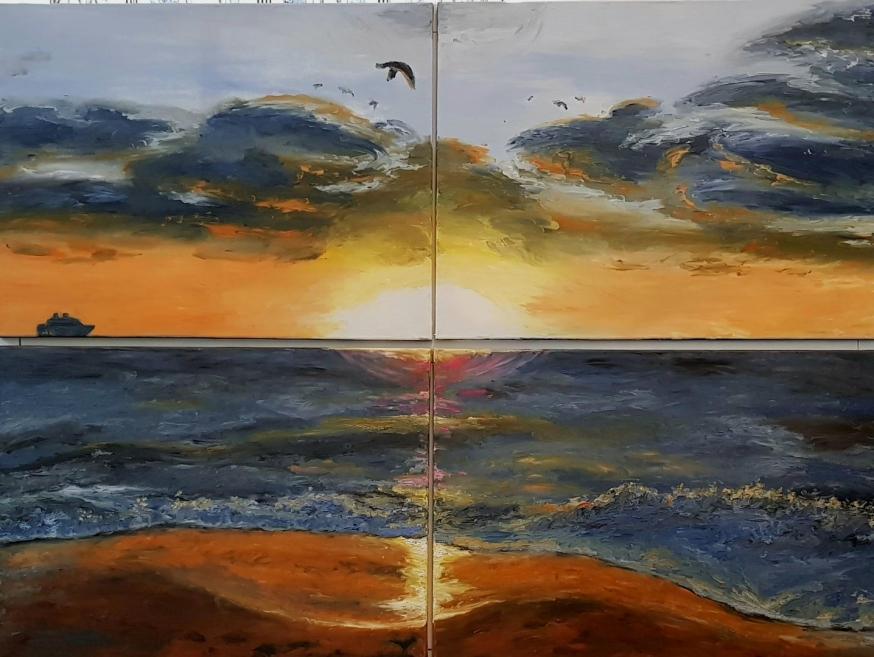 Miami South Beach, Mosaic Picture, Sunrise, Waves, Seagulls, Cruiseship