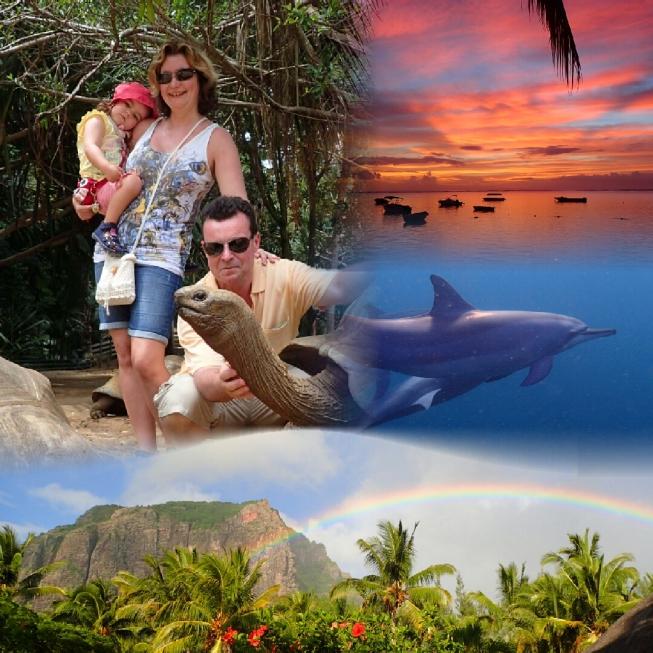 Wir, Mauritius, Riesenschildkröten, Abendbrot, Delfine, Le Morne, Mont Brabant, Regenbogen, Île Maurice, Afterglow, Coucher du Soleil, Rainbow, Banana, Tortoises, Dolphins, La Vanille Crocodile Park, Port Louis, Dolphin Swim, Boat Trip, Paradise, Traumrei