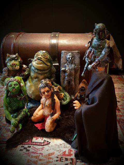 Star Wars, Jabba, Oola, Leia Slave, Han Solo in Carbonite, Luke Jedi, Jawa, Boba Fett, Jawa, Gamorrean Guard, Salacious Crumb, Tatooine, George Lucas