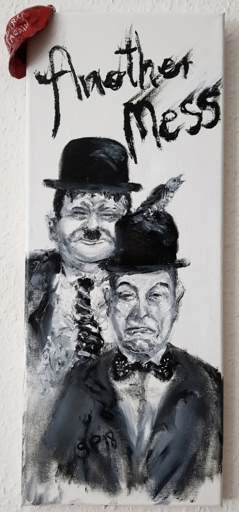 Laurel, Hardy, Mess, USA, Trump