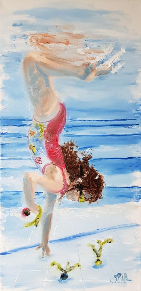 Urlaub, Paradies, Familie, Meer, Sonne, Strand, Ölgemälde