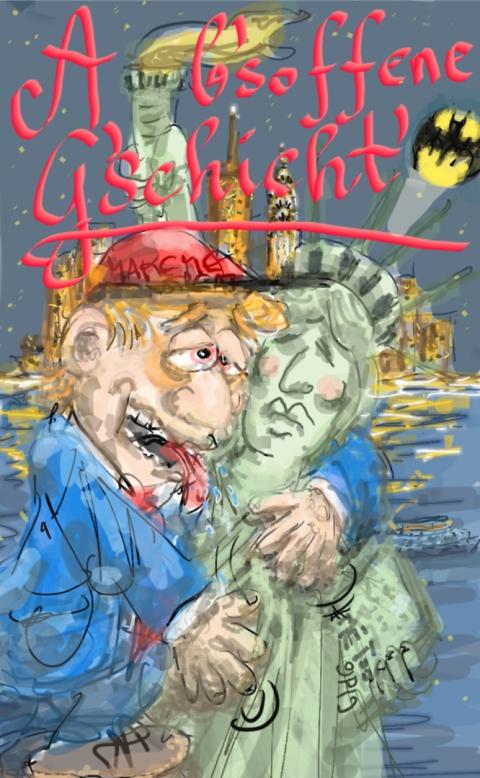 Trump, Freiheitsstatue, New York, USA