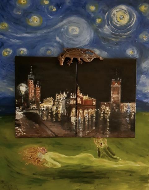 Silent Night, Weihnachten, Kraków,  Drache, Nachthimmel, Wasserschlangen, Schrei